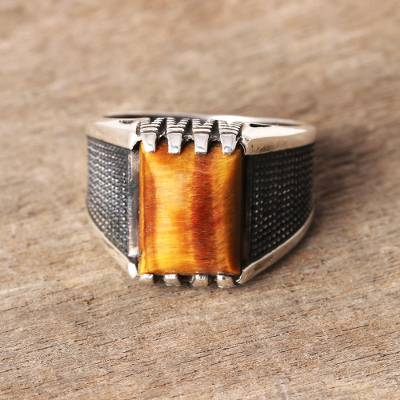 Men's tiger's eye ring, 'Earthen Strength' - Men's Tiger's Eye Ring Crafted in India