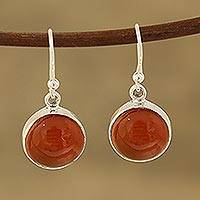 Carnelian dangle earrings, 'Fiery Domes' - Round Carnelian Dangle Earrings from India