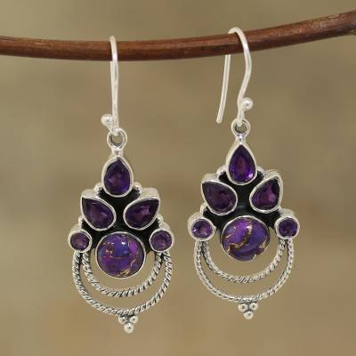 Amethyst and composite turquoise dangle earrings, 'Radiant Harmony' - Amethyst and Purple Composite Turquoise Dangle Earrings