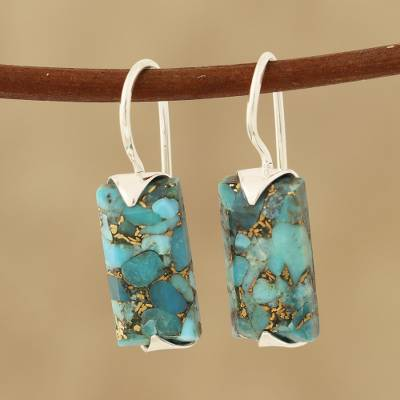 Composite turquoise drop earrings, 'Beautiful Blue' - Composite Turquoise Drop Earrings from India