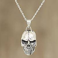 Men's sterling silver pendant necklace, 'Mystic Skull' - Men's Sterling Silver Skull Pendant Necklace from India