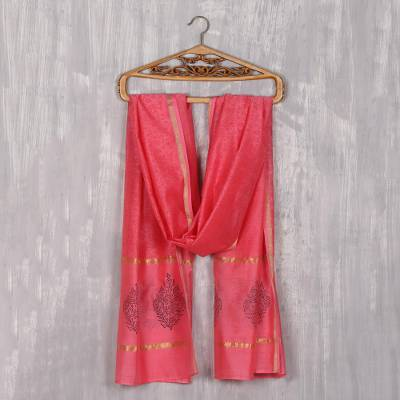 Cotton and silk blend scarf, 'Rose Peacock' - Handwoven Cotton and Silk Blend Scarf in Rose from India