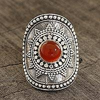 Carnelian cocktail ring, 'Red-Orange Sun' - Red-Orange Carnelian Cocktail Ring from India