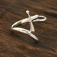 Sterling silver band ring, 'Holy Faith' - Sterling Silver Cross Band Ring from India