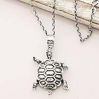 Sterling silver pendant necklace, 'Turtle Friend' - Sterling Silver Turtle Pendant Necklace from India