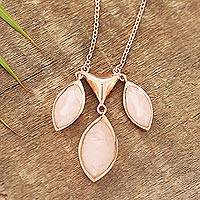 Rose gold plated rose quartz pendant necklace, 'Rosy Princess' - Rose Gold Plated Rose Quartz Pendant Necklace from India