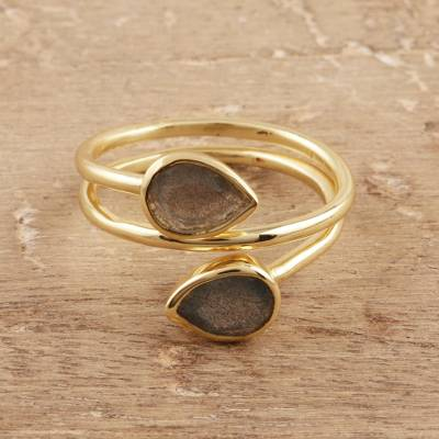 Gold plated labradorite wrap ring, 'Golden Aurora' - Gold Plated Labradorite Wrap Ring from India