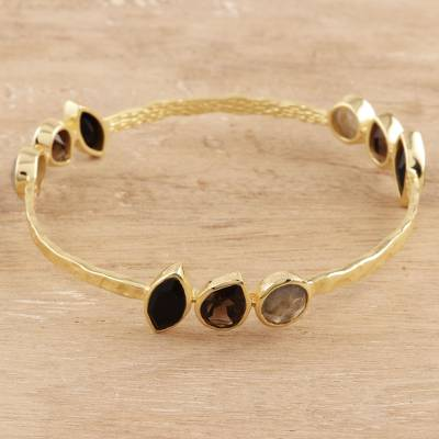 Gold plated multi-gemstone bangle bracelet, 'Harmonious Sparkle' - Gold Plated Multi-Gemstone Bangle Bracelet from India