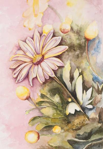 'Dazzling Daisies' - Signed Realist Painting of Daisies from India