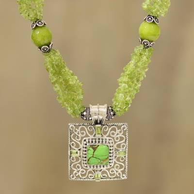 Peridot and composite turquoise beaded pendant necklace, 'Verdant Square' - Peridot and Composite Turquoise Beaded Pendant Necklace