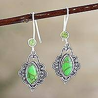 Peridot and composite turquoise dangle earrings, 'Alluring Beauty' - Peridot and Green Composite Turquoise Dangle Earrings