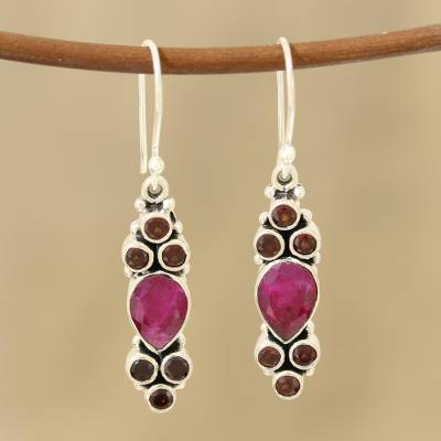Agate and garnet dangle earrings, 'Passionate Trios' - Teardrop Agate and Garnet Dangle Earrings from India