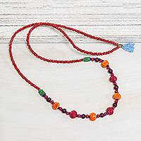 Bone and wood beaded long necklace, 'Boho Rose' - Colorful Bone and Wood Beaded Long Necklace from India
