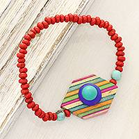 Wood and resin beaded pendant bracelet, 'Colorful Hex' - Colorful Wood and Resin Beaded Pendant Bracelet from India