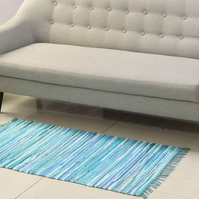 Recycled cotton area rug, 'Oceanic Delight' (2.5x4) - Handwoven Recycled Cotton Area Rug in Blue (2.5x4)