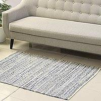 Recycled cotton area rug, 'Diamond Intricacy' (3x4.5) - Diamond Pattern Recycled Cotton Area Rug from India (3x4.5)