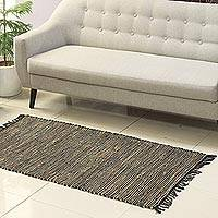 Jute and leather area rug, 'Onyx Charm' (2.5x5) - Onyx and Beige Jute and Leather Area Rug from India (2.5x5)