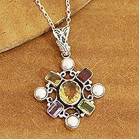 Multi-gemstone pendant necklace, 'Alluring Style' - Multi-Gemstone Pendant Necklace Crafted in India