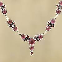 Garnet link necklace, 'Perfect Radiance' - Garnet Link Pendant Necklace Crafted in India