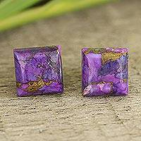 Sterling silver stud earrings, 'Contemporary Corners' - Square Purple Composite Turquoise Stud Earrings from India