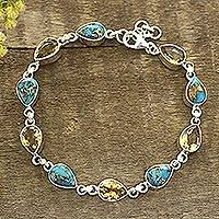 Citrine and composite turquoise link bracelet, 'Sunny Drops' - Citrine and Composite Turquoise Link Bracelet from India