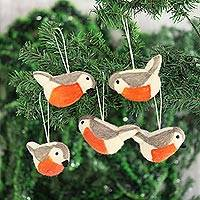 Wool felt ornaments, 'Holiday Song' (set of 5) - Wool Felt Bird Ornaments from India (Set of 5)