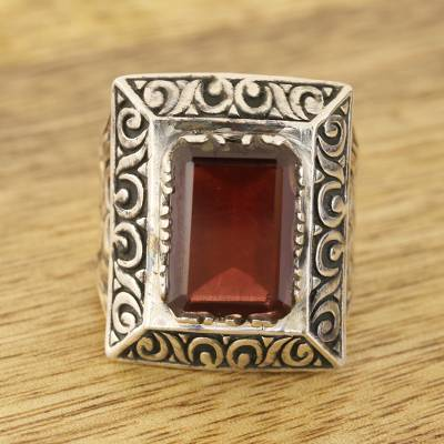 Men's garnet ring, 'Rectangle Glisten' - Men's Rectangular Garnet Ring from India