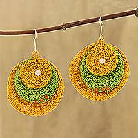 Glass beaded cotton dangle earrings, 'Round Dance in Marigold' - Marigold and Kiwi Glass Beaded Cotton Dangle Earrings