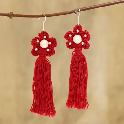 Crocheted cotton dangle earrings, 'Red Floral Tassel' - Cotton Crochet Red Flower Tassel Earrings from India