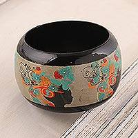 Wood bangle bracelet, 'Tribal Flowers' - Floral Haldu Wood Bangle Bracelet Crafted in India