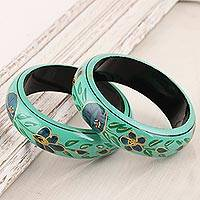 Wood bangle bracelets, 'Floral Viridian' (pair) - Floral Wood Bangle Bracelets in Viridian from India (Pair)