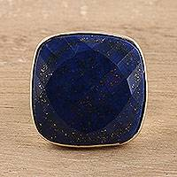 Men's lapis lazuli ring, 'Bold and Blue' - Men's 7-Carat Lapis Lazuli Ring from India
