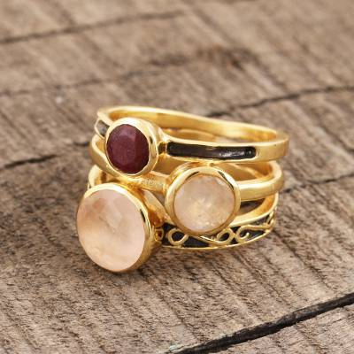 Gold plated multi-gemstone cocktail ring, 'Cute Harmony' - Gold-Plated Multi-Gemstone Cocktail Ring from India