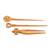 Mango wood hair pins, 'Natural Trio Delight' (set of 3) - Natural Mango Wood Assorted Hair Pins from India (Set of 3) (image 2c) thumbail