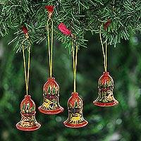 Wood ornaments, 'Reindeer Landscape' (2 inch, set of 4) - Deer-Themed Wood Bell Ornaments from India (2 in. Set of 4)