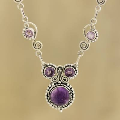 Amethyst pendant necklace, 'Meerut Magic' - Indian Amethyst and Sterling Silver Necklace