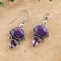 Amethyst and composite turquoise dangle earrings, 'Regal Allure' - Regal Sterling Silver and Amethyst Earrings from India