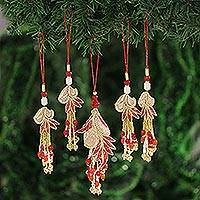Beaded ornaments, 'Holiday Gala' (set of 5) - Gold and Red Beaded Ornaments from India (Set of 5)