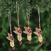 Beaded ornaments, 'Gorgeous Quartet' (set of 4) - Red and Gold-Tone Beaded Ornaments from India (Set of 4)