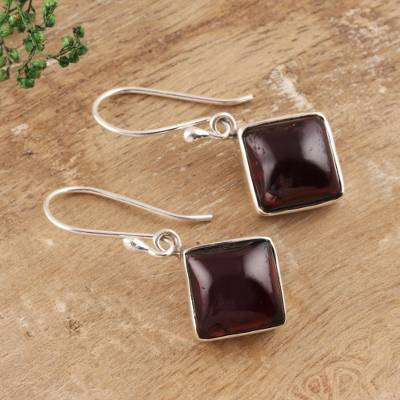Garnet dangle earrings, 'Fiery Squares' - Square Garnet Dangle Earrings from India