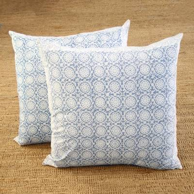 Cotton cushion covers, 'Slate Jali' (26 inch, pair) - Cotton Cushion Covers in Slate from India (26 in. Pair)