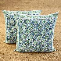 Cotton cushion covers, 'Mughal Paisleys' (26 inch, pair) - Paisley Motif Cotton Cushion Covers (26 in. Pair)
