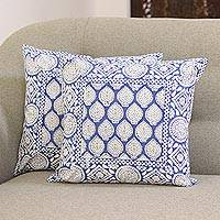 Cotton cushion covers, 'Lapis Garden' (16 inch, pair) - Block-Printed Cotton Cushion Covers in Lapis (16 in. Pair)