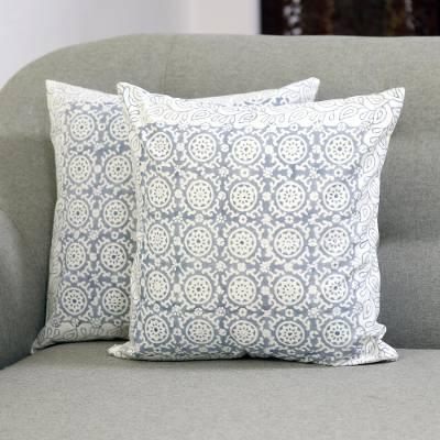 Cotton cushion covers, 'Slate Jali' (16 inch, pair) - Floral Cotton Cushion Covers in Slate (16 in. Pair)