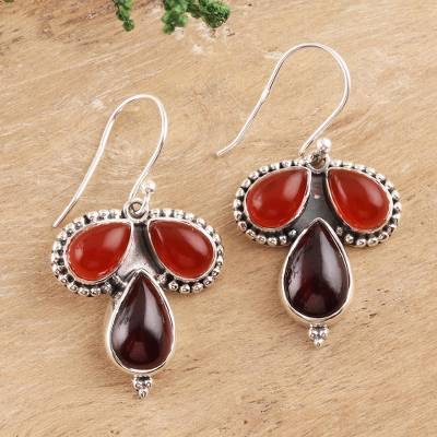 Carnelian and garnet dangle earrings, 'Droplet Trios' - Teardrop Carnelian and Garnet Dangle Earrings from India