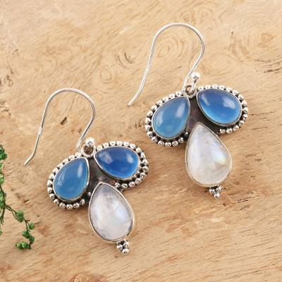 Chalcedony and rainbow moonstone dangle earrings, 'Droplet Trios' - Teardrop Chalcedony and Rainbow Moonstone Dangle Earrings