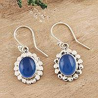 Chalcedony dangle earrings, 'Radiant Petals' - Oval Chalcedony Dangle Earrings Crafted in India