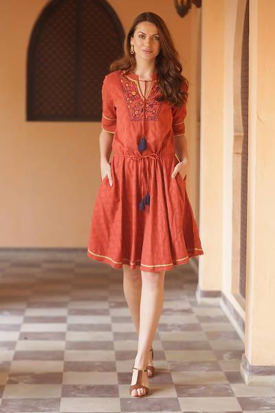 Cotton A-line dress, 'Delhi Spring in Russet' - Floral Embroidered Cotton A-Line Dress in Paprika from India