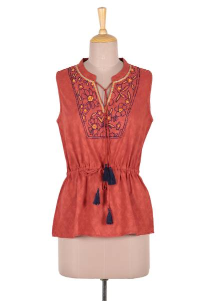 Cotton blouse, 'Delhi Spring in Russet' - Floral Embroidered Cotton Blouse in Paprika from India