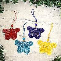 Glass beaded ornaments, 'Glamorous Butterflies' (set of 4) - Glass Beaded Butterfly Ornaments from India (Set of 4)